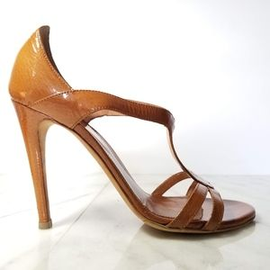 SERGIO ROSSI Open Toe Sandals Heels Tan Leather 9
